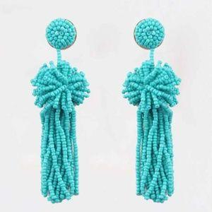 Turquoise Bead Boho Flower Long Drop Earrings